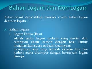Bahan Logam dan Non Logam