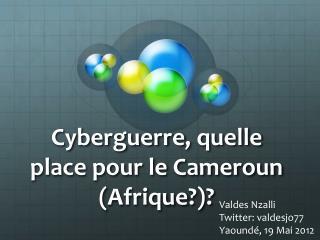 Cyberguerre ,  quelle  place pour le Cameroun ( Afrique ?)?