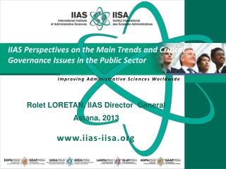 IIAS Perspectives on the Main Trends and Critical Governance Issues in the Public Sector