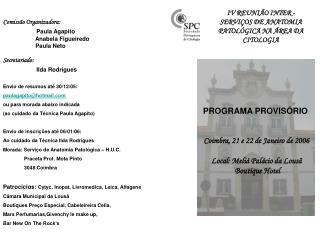 IV REUNIÃO INTER - SERVIÇOS DE ANATOMIA PATOLÓGICA NA ÁREA DA CITOLOGIA