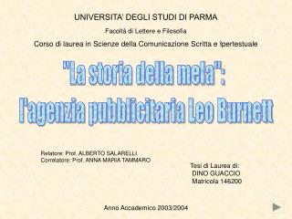 UNIVERSITA' DEGLI STUDI DI PARMA Facoltà di Lettere e Filosofia