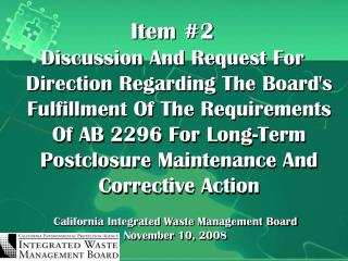 California Integrated Waste Management Board November 10, 2008