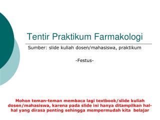 Tentir Praktikum Farmakologi