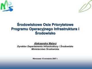 Środowiskowe Osie Priorytetowe  Programu Operacyjnego Infrastruktura i Środowisko