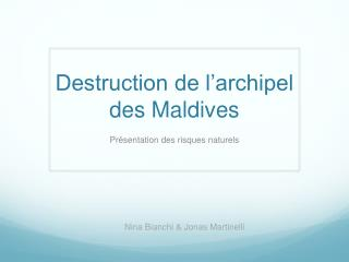 Destruction de l'archipel des Maldives