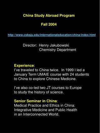 China Study Abroad Program Fall 2004