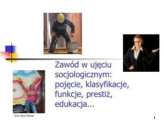 Zawód w ujęciu socjologicznym:  pojęcie, klasyfikacje, funkcje, prestiż, edukacja...