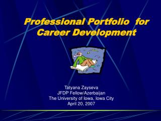 Professional Portfolio  for Career Development
