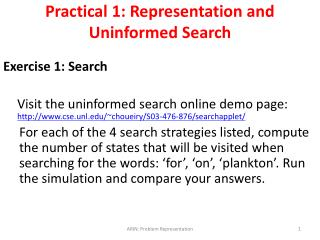 Practical 1: Representation and Uninformed Search