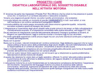 PROGETTO I CARE  DIDATTICA LABORATORIALE DEL SOGGETTO DISABILE NELL ATTIVITA  MOTORIA