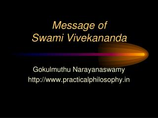 Message of Swami Vivekananda