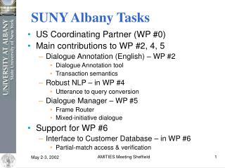 SUNY Albany Tasks