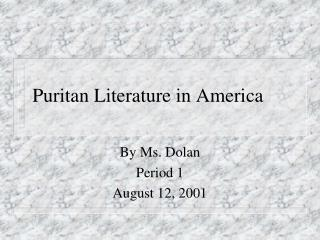 Puritan Literature in America