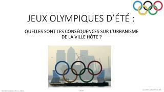 JEUX OLYMPIQUES D'ÉTÉ :