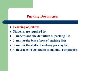 Packing Documents