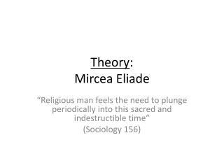 Theory : Mircea Eliade