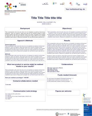 Title Title Title title title AUTHOR 1 , PPx &  AUTHOR 2 , PPy 1  ADDRESS, author@xxx.eu
