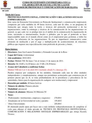 CURSO DE EXTENSIÓN UNIVERSITARIA CON LA  COLABORACIÓN DE ESCUELA TÉCNICA ALTOS