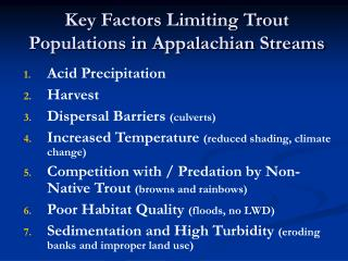 Key Factors Limiting Trout Populations in Appalachian Streams