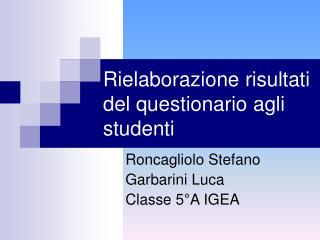 Rielaborazione risultati del questionario agli studenti