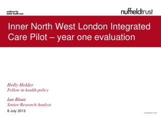 Inner North West London Integrated Care Pilot – year one evaluation