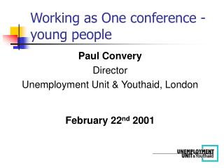 Working as One conference - young people