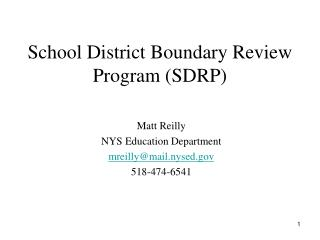 School District Boundary Review Program SDRP
