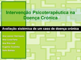 Interven  o Psicoterap utica na Doen a Cr nica