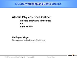 ISOLDE Workshop and Users Meeting