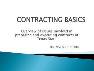 CONTRACTING BASICS