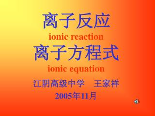 离子反应 ionic reaction 离子方程式 ionic equation
