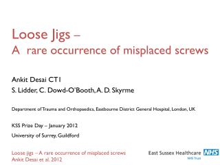 Loose Jigs  �  A  rare occurrence of misplaced screws