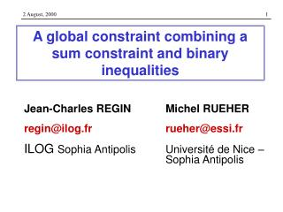 A global constraint combining a sum constraint and binary inequalities