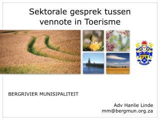 Sektorale gesprek tussen vennote in  Toerisme