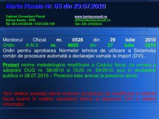 Proiect  norme metodologice modificare a Codului fiscal, norme pentru OUG nr. 58/2010