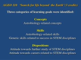 Three categories of learning goals were identified: Concepts Astrobiology-related concepts Skills