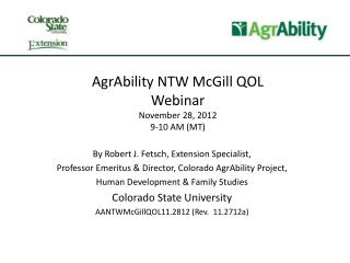 AgrAbility NTW McGill QOL Webinar November 28, 2012 9-10 AM (MT)