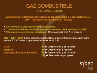 Délégation de l'exploitation des réseaux de gaz combustible à 3 concessionnaires :