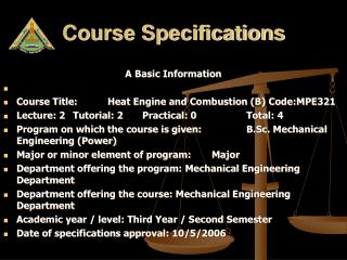 Course Specifications