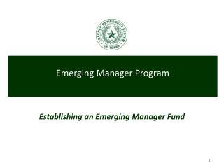 Establishing an Emerging Manager Fund