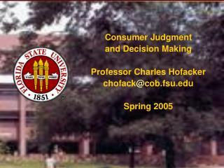Consumer Judgment  and Decision Making Professor Charles Hofacker chofack @ cob.fsu