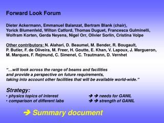 Forward Look Forum Dieter Ackermann, Emmanuel Balanzat, Bertram Blank (chair),