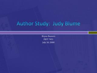 Author Study:  Judy  Blume