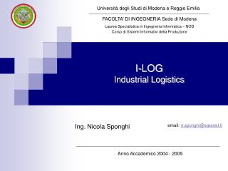 I-LOG Industrial Logistics
