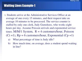Waiting Lines Example-1