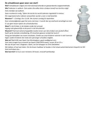 De schaaklessen gaan weer van start!