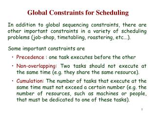 Global Constraints for Scheduling