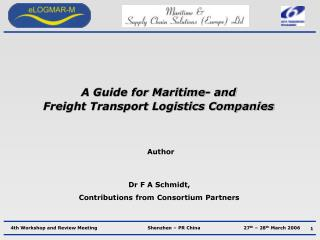 A Guide for Maritime- and  Freight Transport Logistics Companies