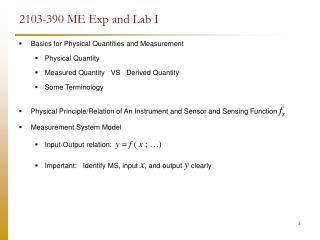 2103-390 ME Exp and Lab I