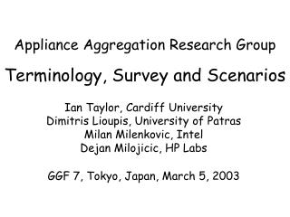 Appliance Aggregation Research Group Terminology, Survey and Scenarios